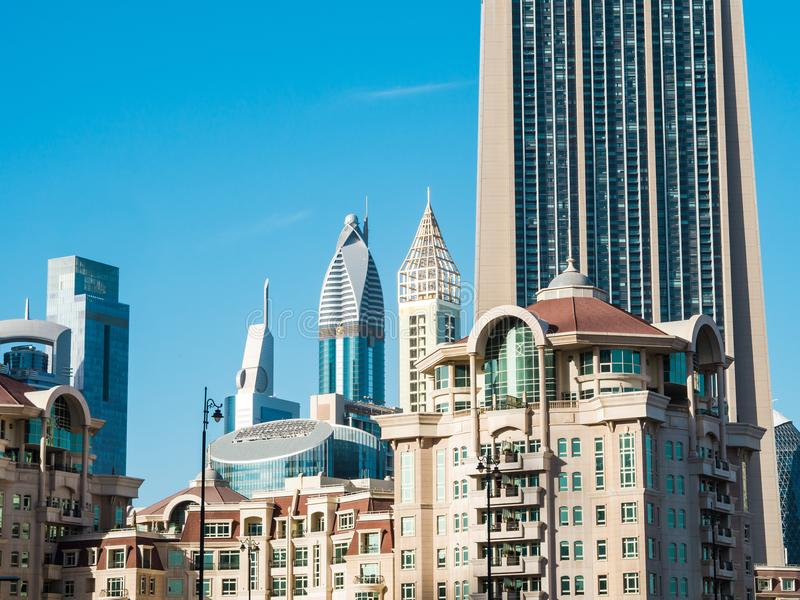 Modern buildings in Dubai, UAE. royalty free stock photography