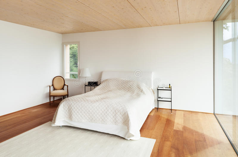Modern architecture, interior, bedroom royalty free stock image
