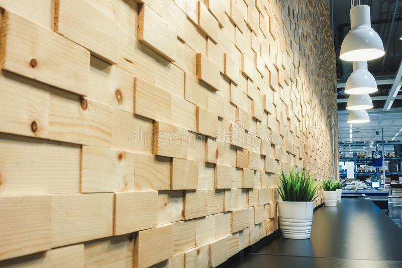 Modern Architecture and Interior Decoration With Lights Bulb on Wooden Wall Background, Home Decorative and Styles Concept.  stock images