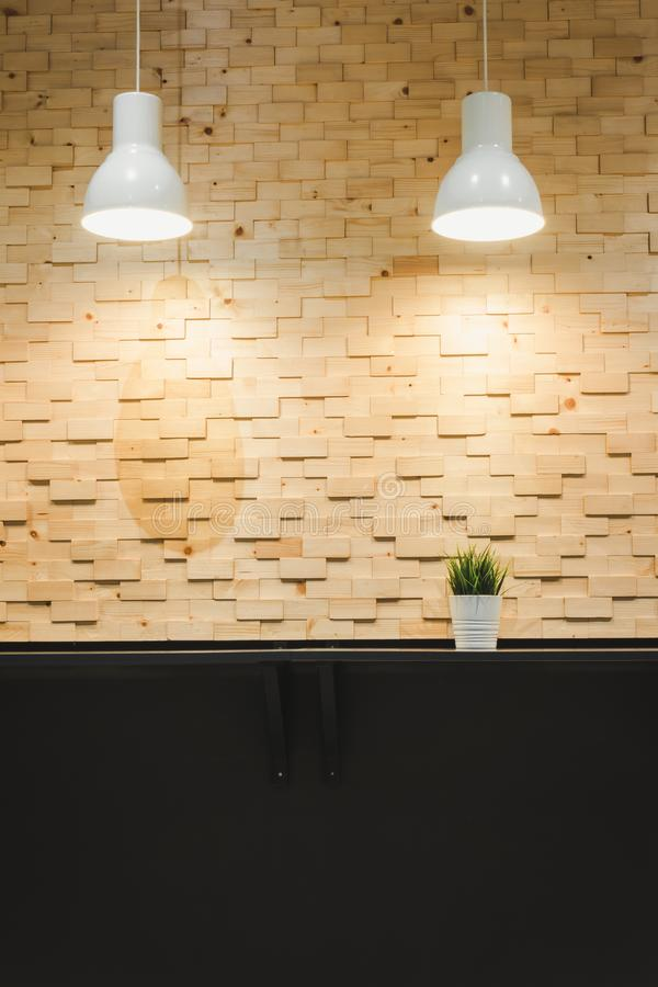 Modern Architecture and Interior Decoration With Lights Bulb on Wooden Wall Background, Home Decorative and Styles Concept.  stock photos