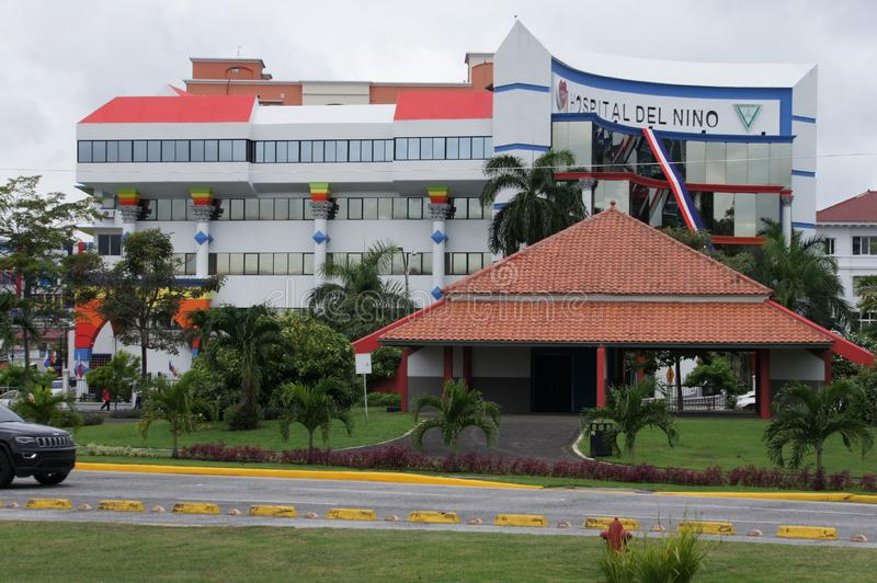 The building of a modern hospital in the capital of Panama stock image
