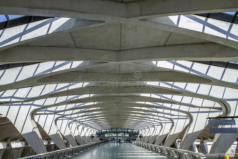Modern Architecture. Long Passage Way at Train Station at Saint-Exupery Airport, Lyon, France royalty free stock images