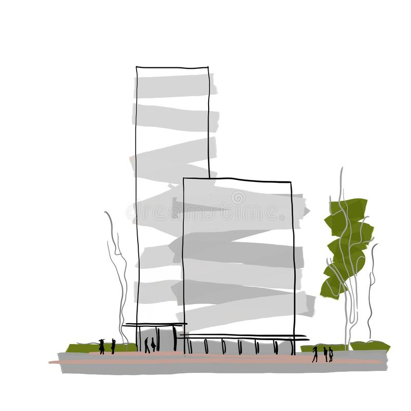 Modern Architecture Sketch modern architecture multi-storey building design abstract