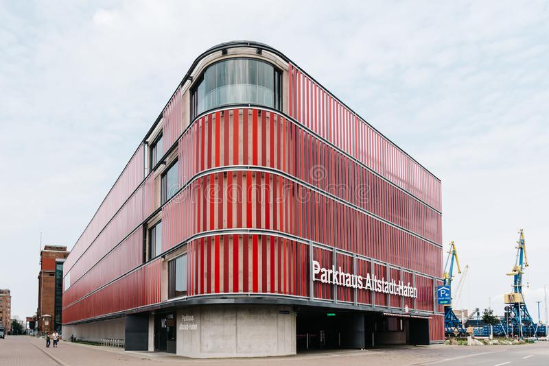 Modern architecture multi storey car park in the harbour of Wismar. Wismar, Germany - August 1, 2019: Modern architecture multi storey car park in the harbour of stock images