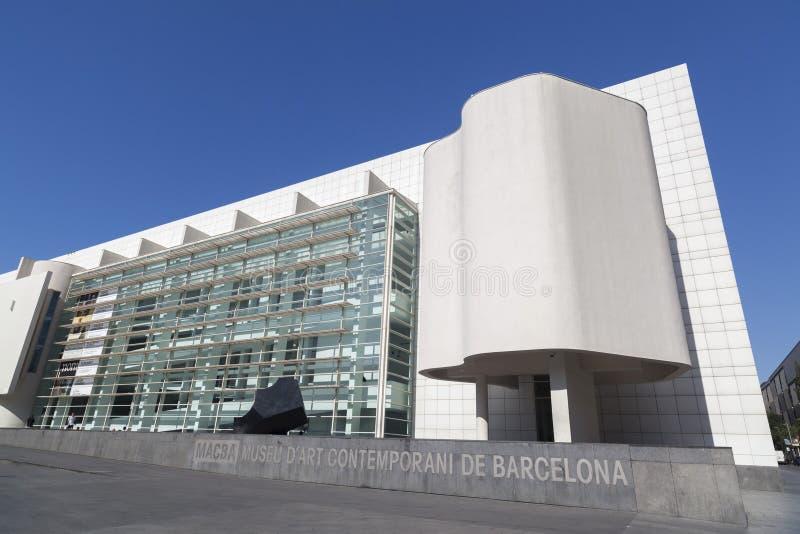 Modern architecture, Museum, MACBA-Museu Art Contemporani,contemporary art museum by architect Richard Meier. Raval quarter, Barc. BARCELONA,SPAIN-OCTOBER 8,2014 royalty free stock photo