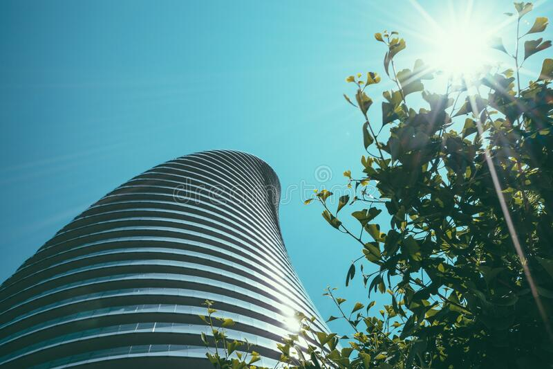 Modern architecture over tree top stock photos