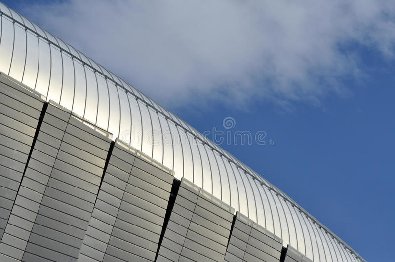Modern architecture pattern of a stadium. CLUJ-NAPOCA, ROMANIA - MARCH 2, 2016: Detail of the new Uefa Elite football stadium of Cluj Napoca. It was built in stock images