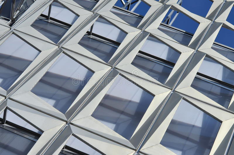 Modern architecture pattern of a stadium. CLUJ-NAPOCA, ROMANIA - MARCH 2, 2016: Detail of the new Uefa Elite football stadium of Cluj Napoca. It was built in royalty free stock photography