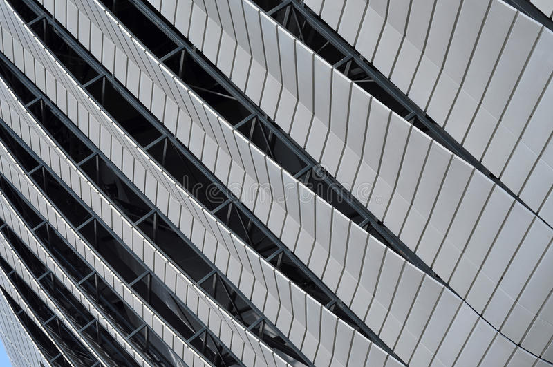 Modern architecture pattern of a stadium. CLUJ-NAPOCA, ROMANIA - MARCH 2, 2016: Detail of the new Uefa Elite football stadium of Cluj Napoca. It was built in royalty free stock photo