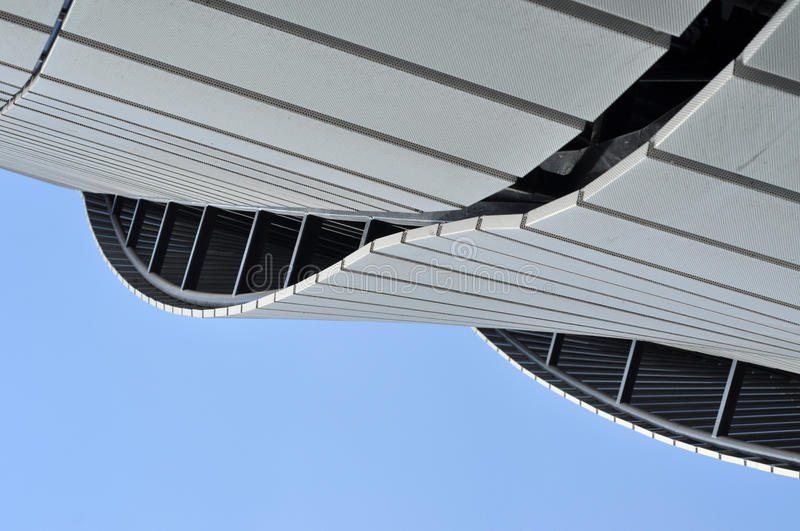 Modern architecture pattern of a stadium. CLUJ-NAPOCA, ROMANIA - MARCH 2, 2016: Detail of the new Uefa Elite football stadium of Cluj Napoca. It was built in royalty free stock images