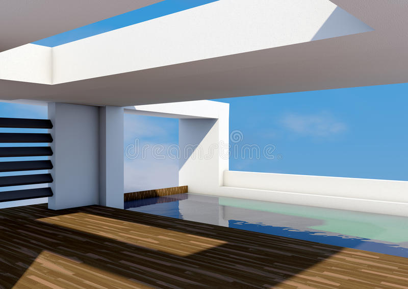 Modern Architecture with pool stock illustration