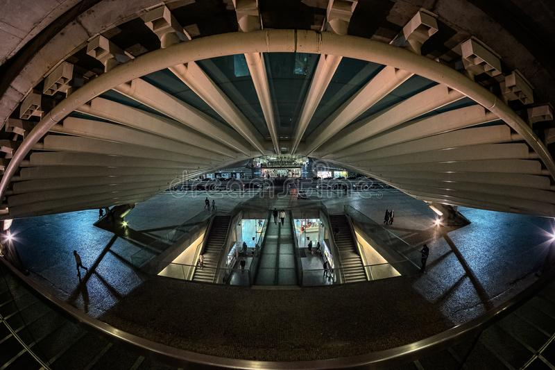 The modern architecture of the Portuguese station Oriente in the city of Lisbon. Structures made of glass and con royalty free stock photography