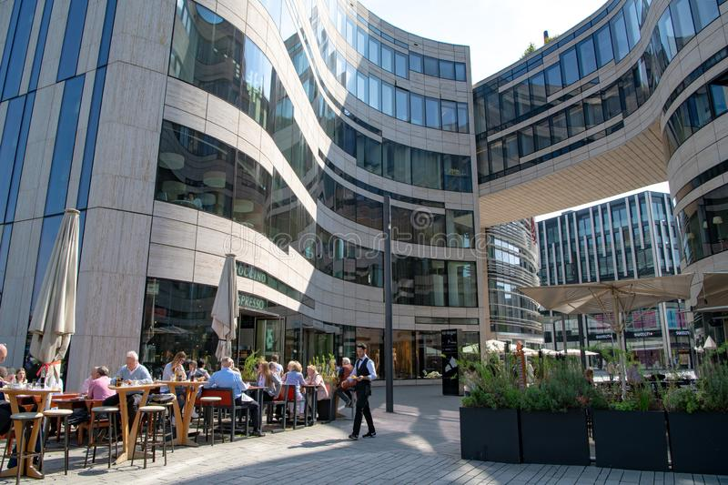 Modern architecture with restaurants, shops and offices in Dusseldorf royalty free stock image