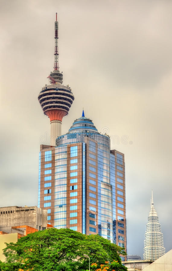 Modern architecture with the TV tower in Kuala Lumpur, Malaysia stock photos