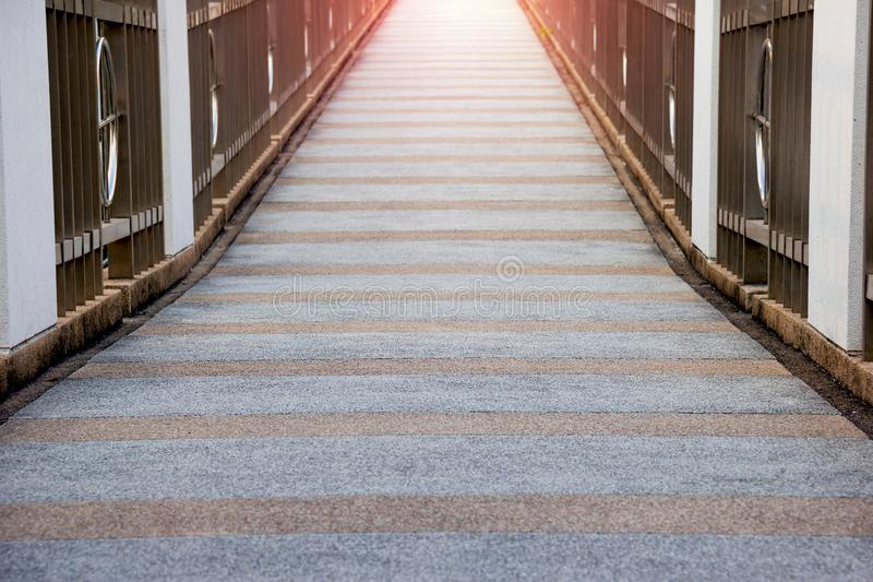 Modern architecture walkway. Modern architecture walkway with sunlight royalty free stock photography