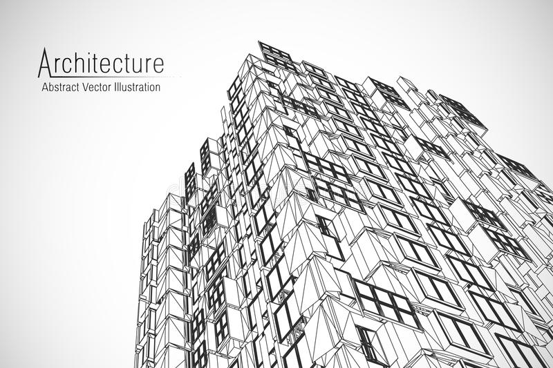Modern architecture wireframe. Concept of urban wireframe. Wireframe building illustration of architecture CAD drawing. Modern architecture wireframe. Concept royalty free illustration