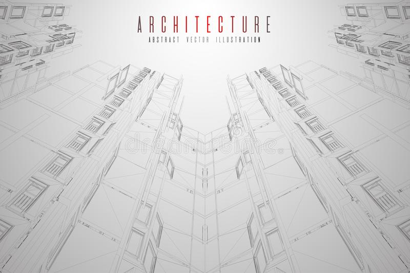 Modern architecture wireframe. Concept of urban wireframe. Wireframe building illustration of architecture CAD drawing. Modern architecture wireframe. Concept vector illustration