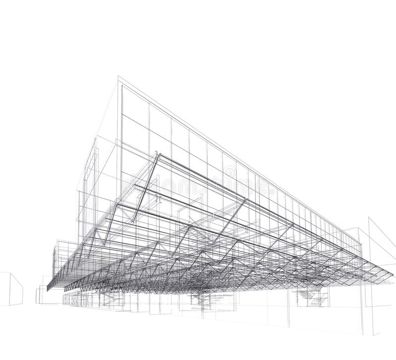 Modern architectuurhuis, dak vector illustratie