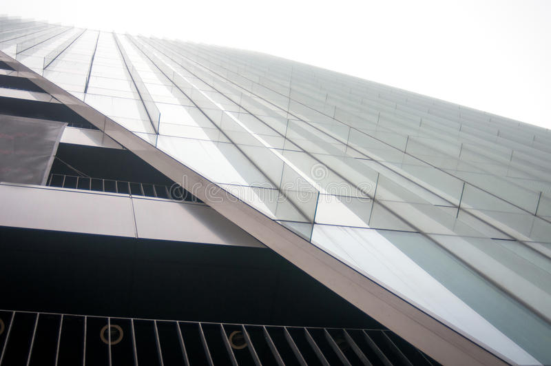 Modern arhitecture. Lines that hold the curtain wall and composing a modern facade stock photo