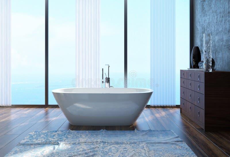 Modern arkitektonisk badruminredesign arkivfoton