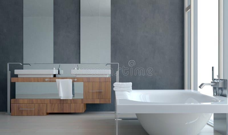 Modern arkitektonisk badruminredesign royaltyfria bilder