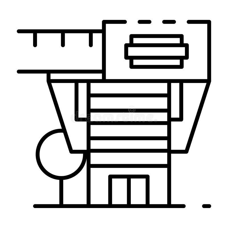 Modern arkitektonisk hussymbol, översiktsstil stock illustrationer