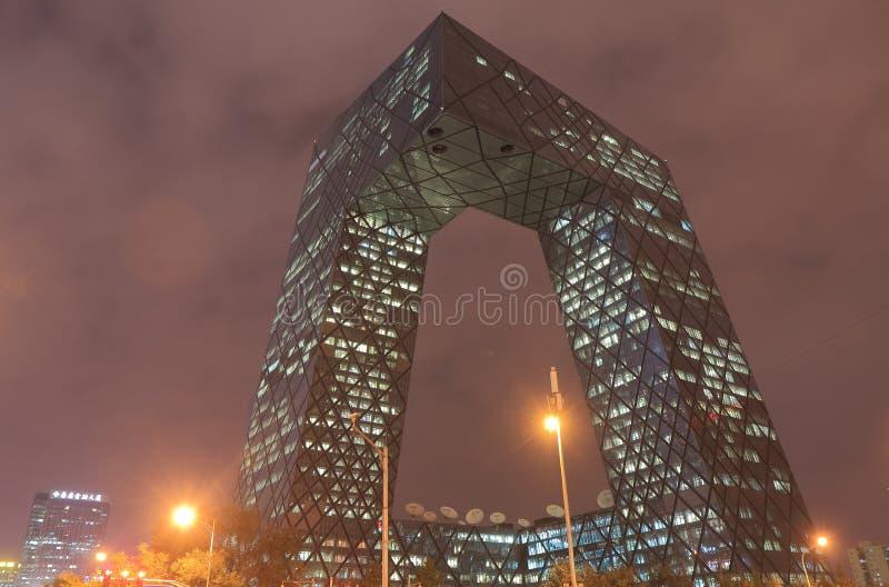 Modern arkitektur av CCTV-byggnadsPeking Kina royaltyfria bilder