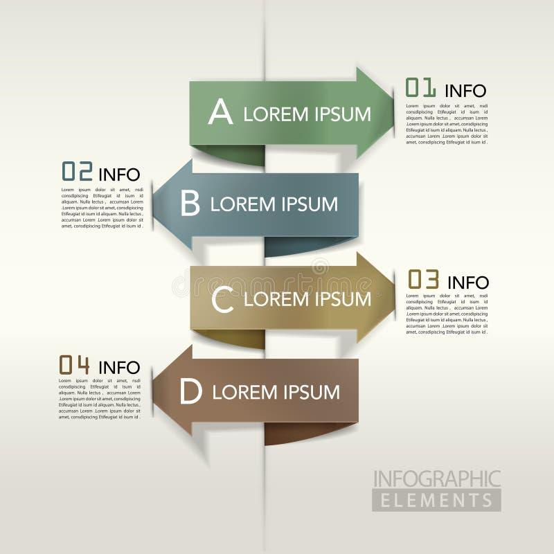Modern arrow bar chart infographic elements stock illustration