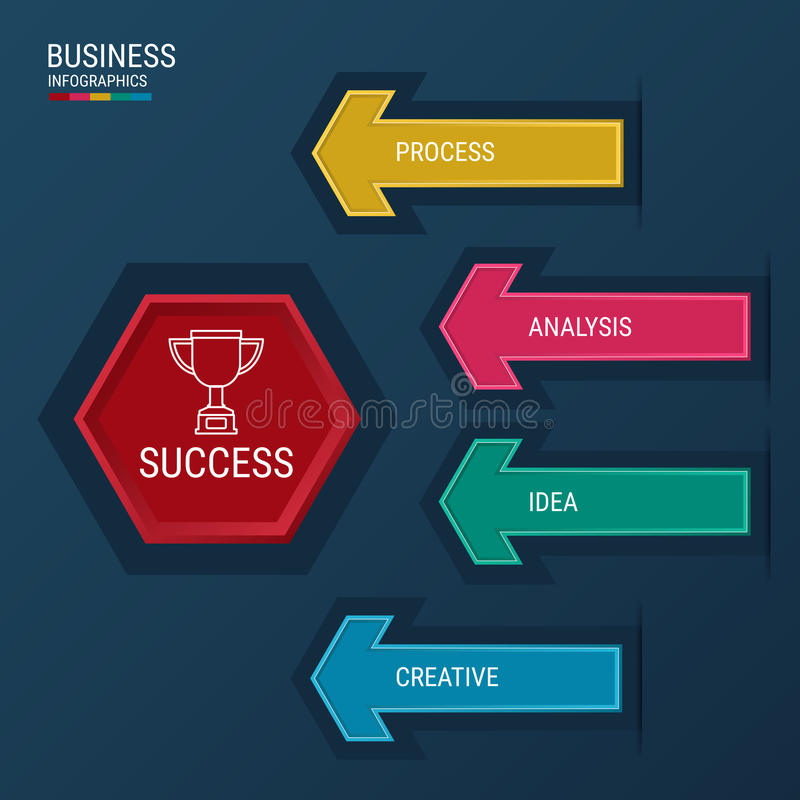 Modern arrow infographics elements. Successful business concept infographic template. stock illustration