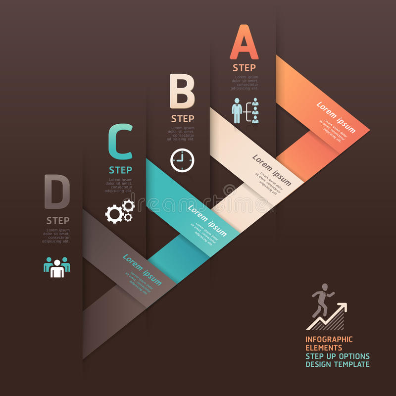 Modern arrow origami style step up options banner. vector illustration