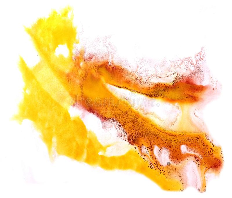 Modern art avant-guard texture background wallpaper vintage pat. Tern hand-drawing design seamless watercolor orange, yellow stock photo