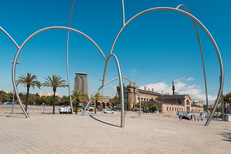 Modern Art in Barcelona. BARCELONA - JULY 19: Maritime Museum and Placa de les Drassanes on July 19, 2012 in Barcelona. It is former Royal dockyards, were royalty free stock images