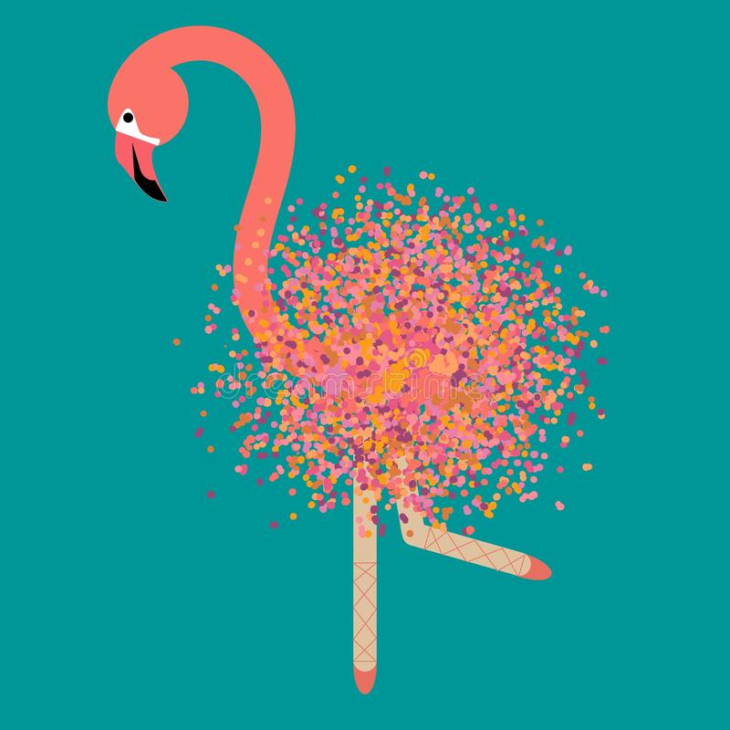 Modern art collage flamingo with ballerina legs, dots brush painting, great design for any purposes. Vector backdrop. Digital royalty free illustration