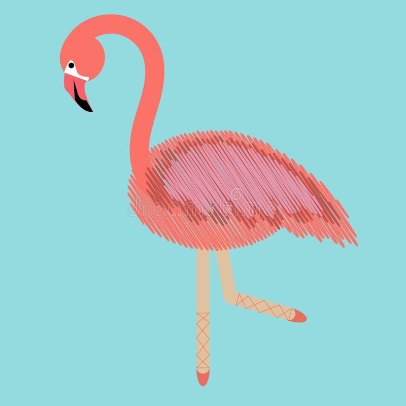 Modern art collage flamingo with ballerina legs , great design for any purposes. combination of embroidery and drawing backdrop. stock illustration