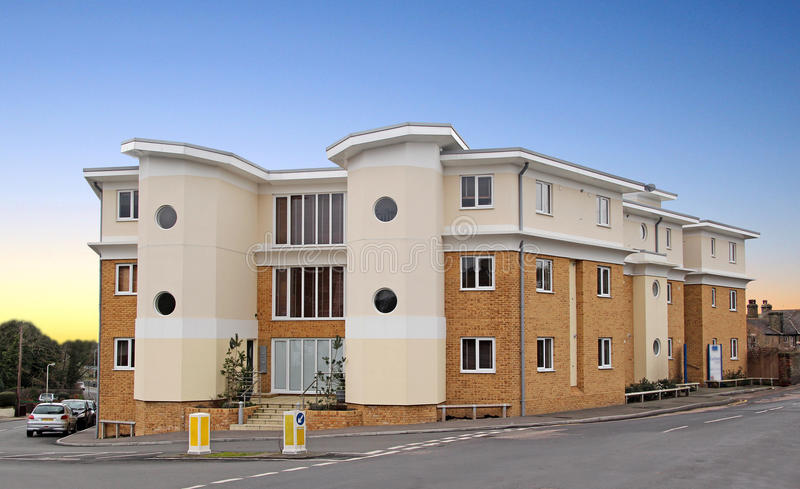 Modern art deco style apartments. Photo of modern art deco style apartments developed in the historic harbour town of whitstable in kent. photo taken 25th royalty free stock photo