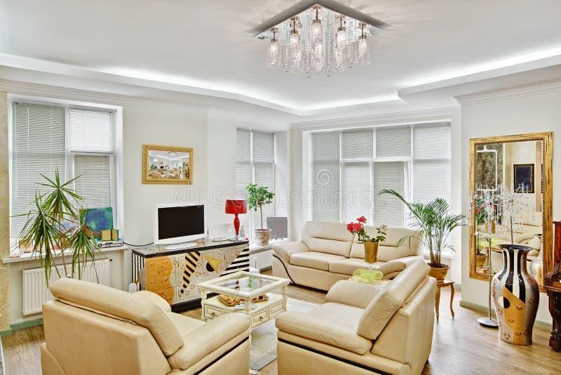 Modern art deco style drawing-room interior stock photo