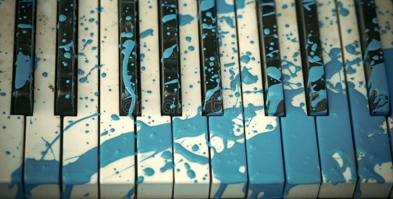 Modern art Geschilderde piano, muzikale stijl, grunge instrument royalty-vrije stock afbeelding