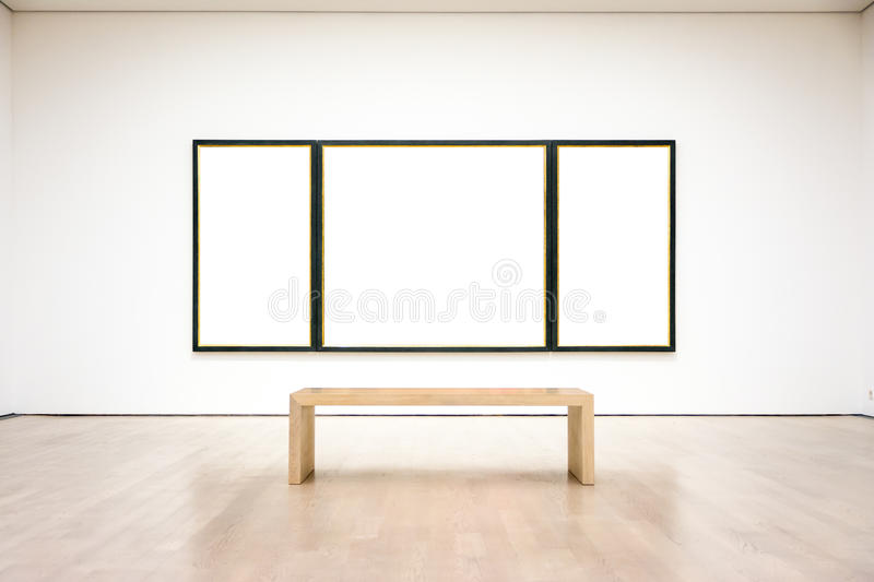 Modern Art Museum Frame Wall Clipping Path Isolated White Vector stock images