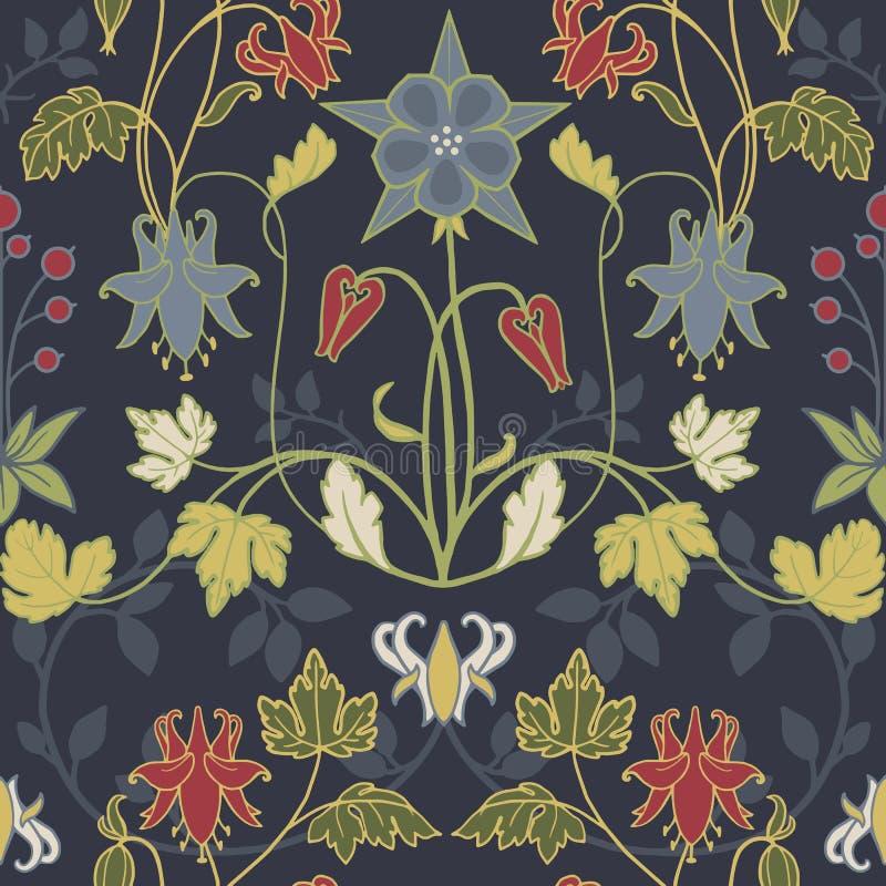 Modern Art Nouveau Tiffany vektormodell royaltyfri illustrationer