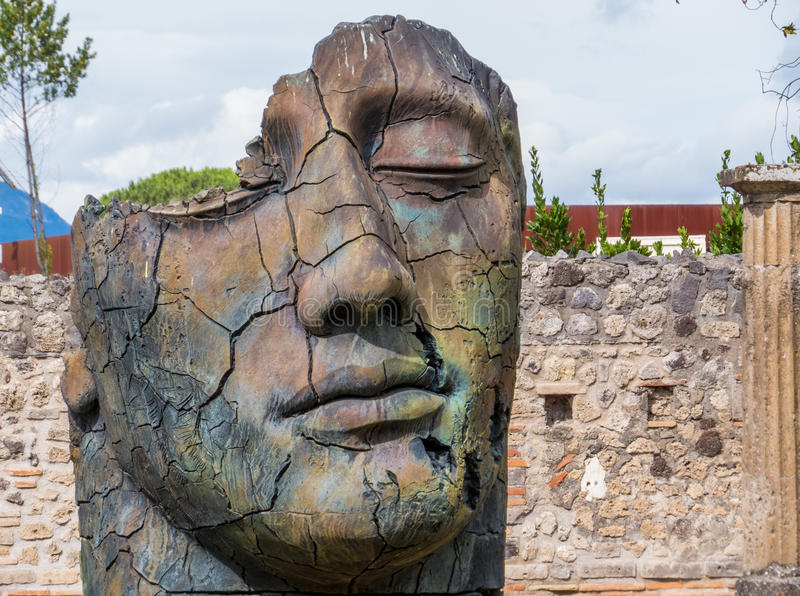 Modern art in Pompeii. Sculpture of the Polish sculptor Igor Mitoraj on display at Pompeii archaeological site, Campania, Italy stock images