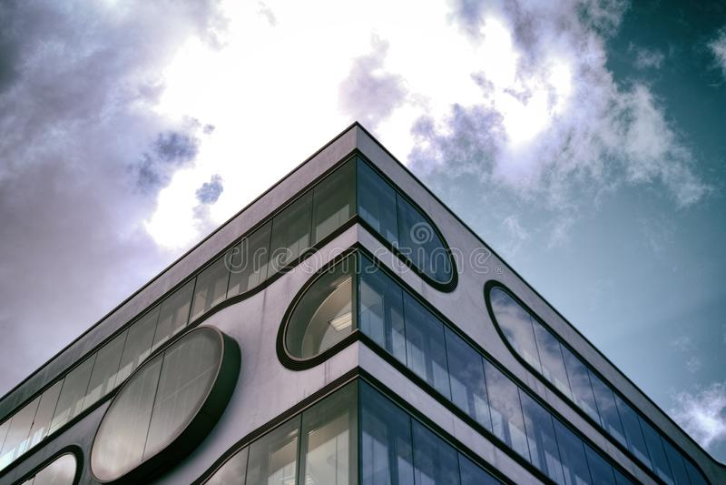Modern Art Skycraper Hamburg sky minimalism. Alster Luxus view statement royalty free stock photos