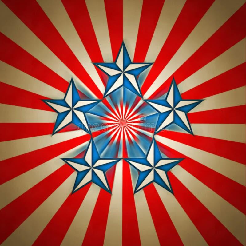 Five stars. Modern art. USA Five stars stock illustration