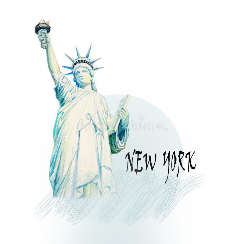 Statue of Liberty, New York, USA. Modern art, Watercolor painting illustration. World famous landmark series: Statue of Liberty, New York, USA vector illustration