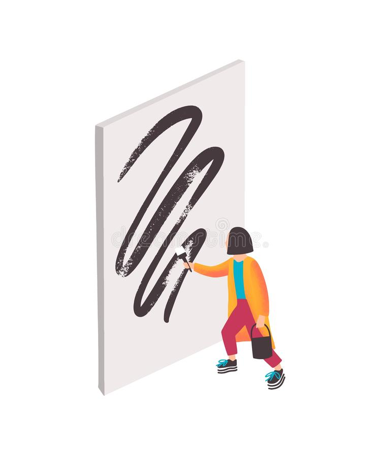Modern artist vector illustration. Girl cartoon character painting abstract artwork with black oil paint on white canvas royalty free illustration