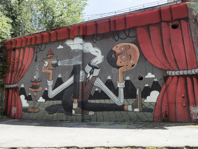 Modern artwork at Strada dupa ziduri in Brasov, Romania royalty free stock photography