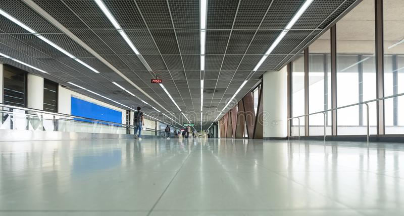 Modern asian airport terminal. Arrival and transit hallway international transportation departure airline business travel passenger changi vacation tourism stock photo