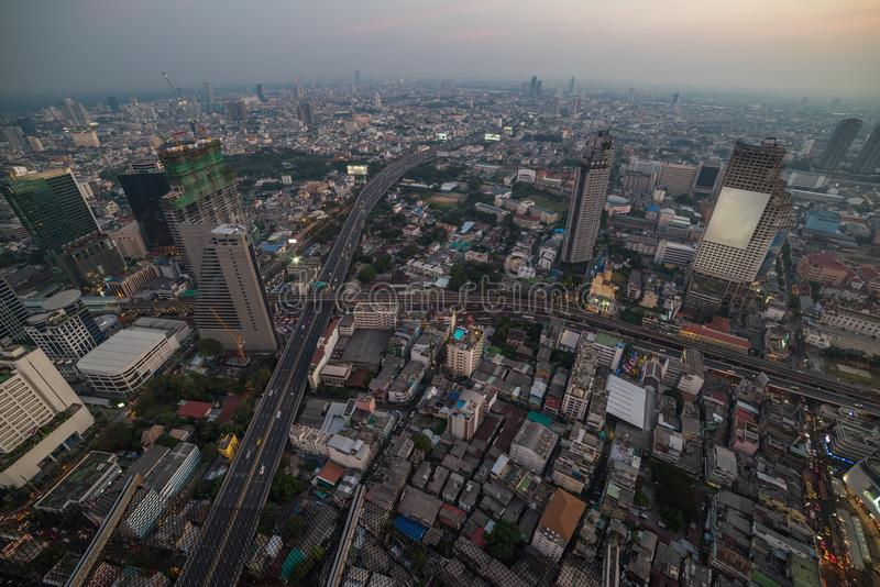 Modern Asian megalopolis cityscape. Aerial view of modern Asian megalopolis cityscape. Bangkok, Thailand royalty free stock photos