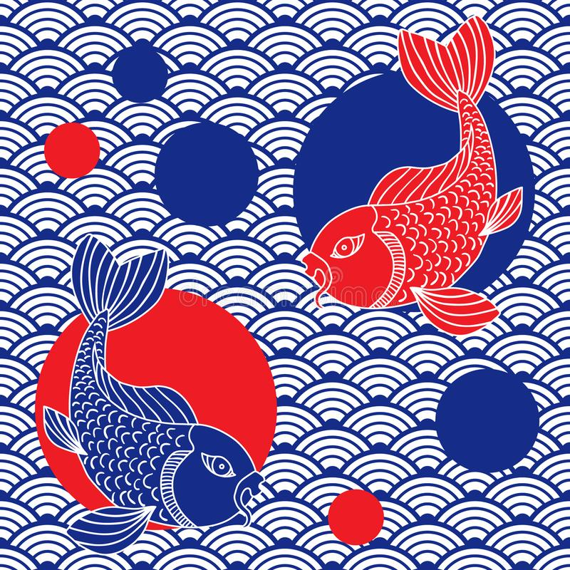 Modern asiatisk sömlös modell Traditionell orientalisk stil keramisk prydnad Stämpel med ett nautiskt tema ljus vektorvärld för k stock illustrationer