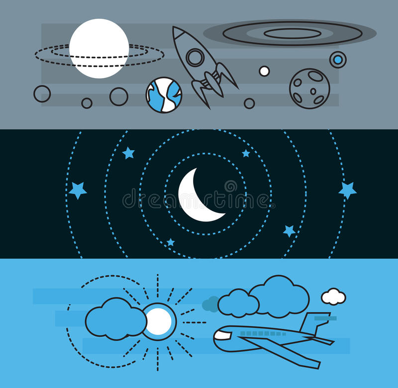 Modern astronomy science and aircraft transportation flat icon royalty free illustration