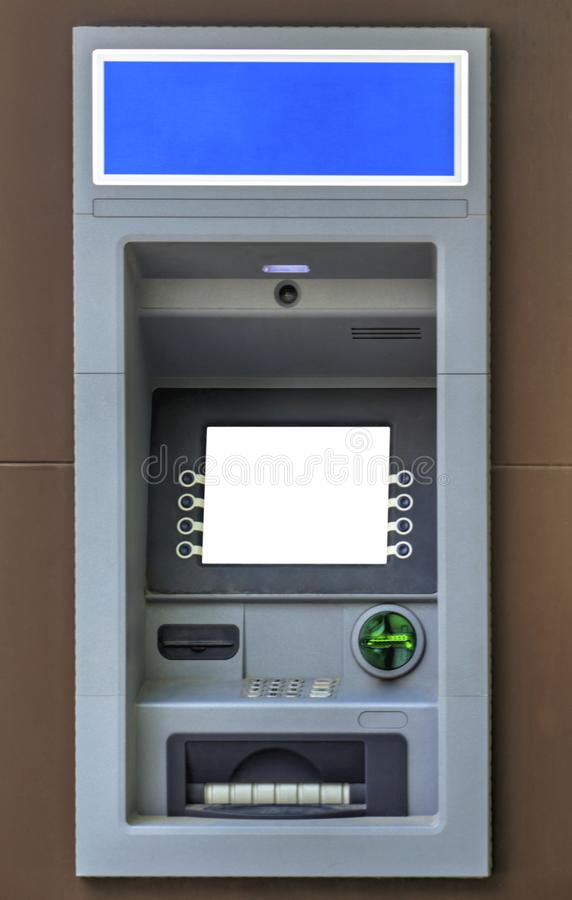 Modern ATM machine. ATM machine close up view royalty free stock photography